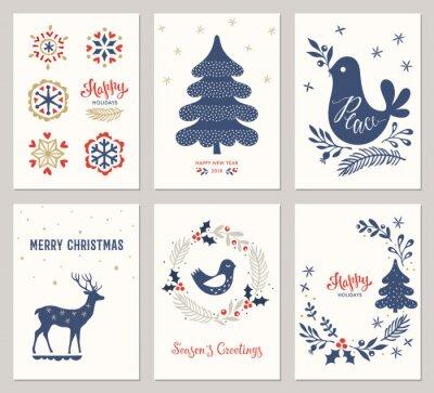 Wesołych Świąt i Szczęśliwego szablony kart Wakacje z drzewa nowego roku, jelenie, płatki śniegu, gołąb, ptak i wieniec. ilustracji wektorowych.