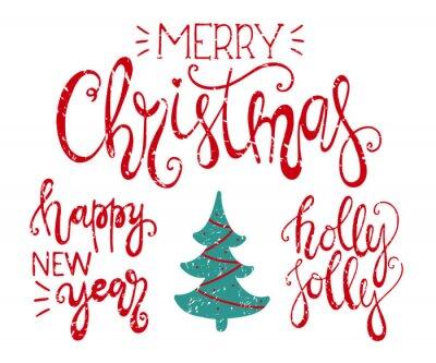 Wesołych świąt, szczęśliwego nowego roku i Holly Jolly handdrawn liternictwo