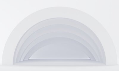 White abstract background with corridor arches. 3d rendering