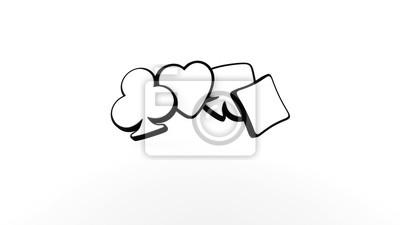 Naklejka White Ace Symbols. Casino Concept, Isolated On The White Background - 3D Illustration