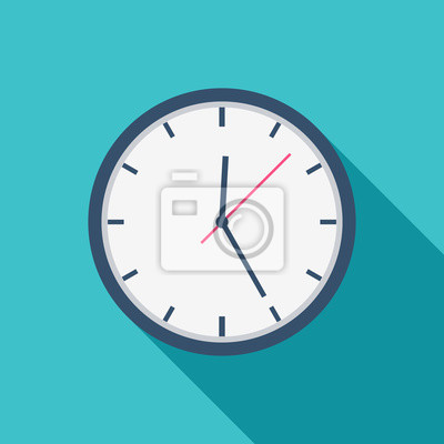 Naklejka White Clock icon flat design for apps and website, trendy office clock with shadow on a blue background. Vector illustration, eps10