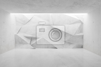 White concrete empty room with polygonal triangle abstract backwall lit from above - gallery or product showcase template, 3D illustration