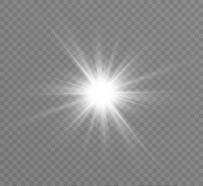 Naklejka White glowing light explodes on a transparent background. Bright Star. Transparent shining sun, bright flash. Vector graphics.