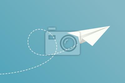 Naklejka White paper plane flying on blue sky background