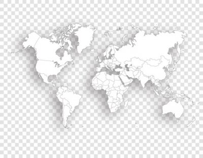white political map of world with shadow on transparent background