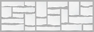 Naklejka White ripped paper strips collection. Realistic paper scraps with torn edges. Sticky notes, shreds of notebook pages. Vector illustration.