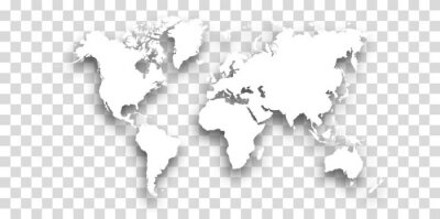white World map with shadow - vector illustration of earth map on transparent background