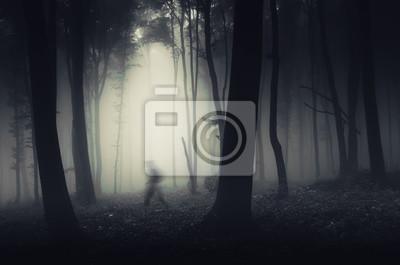 widmowa postać w ciemnym lesie Spooky halloween sceny