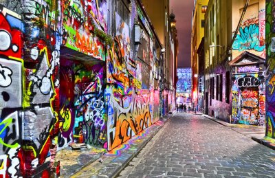 Naklejka Widok kolorowe graffiti grafika na Hosier Lane w Melbourne