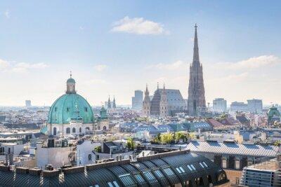 Naklejka Widok na Wiedeń Skyline z katedry Świętego Szczepana w rano, Wiedeń, Austria