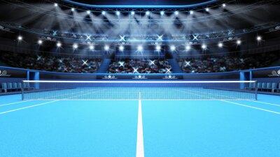 Naklejka Widok niebieski kort tenisowy i stadion pełen kibiców