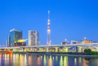 Naklejka Widok Tokyo Skytree góry i rzeki Sumida w nocy.