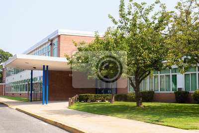 Naklejka Widok typowy amerykański budynek szkoły zewnętrznej
