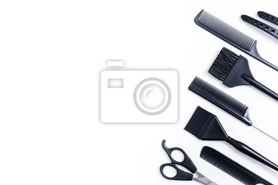 Naklejka Widok z góry narzędzia fryzjerskie