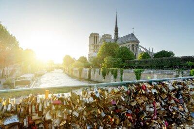 Naklejka Widok z katedry Notre Dame w Paryżu z słynnych zamków miłości