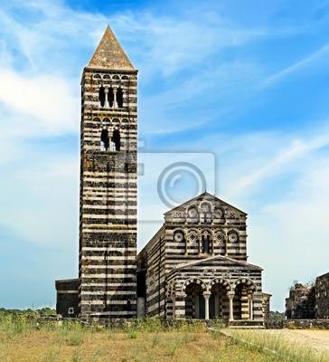 widok z przodu Saccargia kościoła, Sardynia