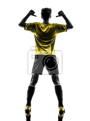 widok z tyłu portret brazylijskiej piłki nożnej gracza młodego człowieka PO