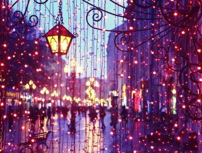 Naklejka Wieczór Avenue ze światłami