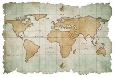 Naklejka wieku mapa świata samodzielnie na białym tle