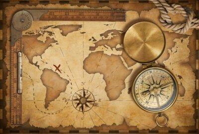 Naklejka wieku treasure map, linijka, liny i stary mosiądz kompas z pokrywką