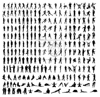 Wiele bardzo szczegółowe silhouettes tym biznesowych, tancerzy, jogi