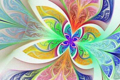 Naklejka Wielobarwny Fractal kwiat lub motyla tła w poplamionym-g