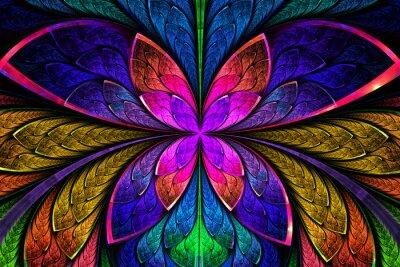 Naklejka Wielobarwny symetryczne Fractal wzór jak kwiat lub motyla