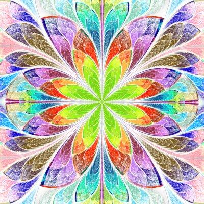 Naklejka Wielobarwny symetryczne fraktali kwiat w witrażu
