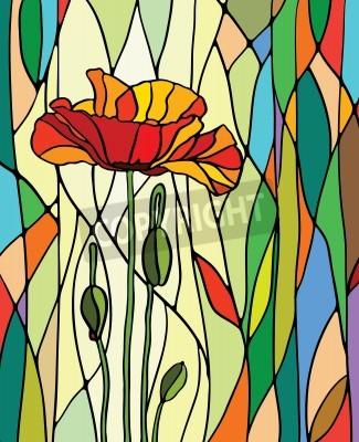 Naklejka Wielobarwny witraż z motywem kwiatowym