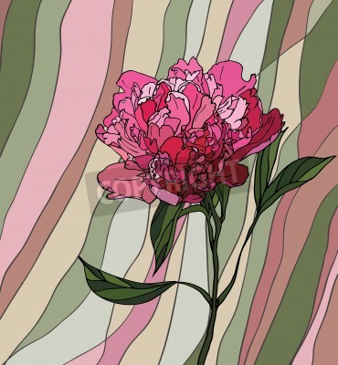 Naklejka Wielobarwny witraż z motywem kwiatowym, Piwonia na wielokolorowym tle paski