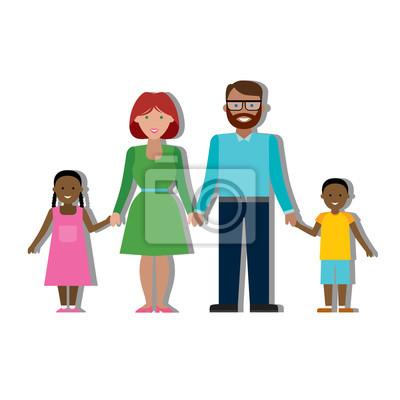 Wielokulturowe rodziny na białym tle.