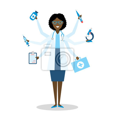 Wielozadaniowość African American kobiet lekarza z sześcioma rękami stojących na białym tle.