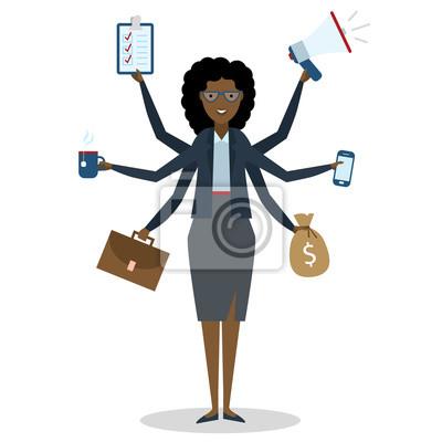 Wielozadaniowość African American kobieta z sześcioma rękami stojących na białym tle.