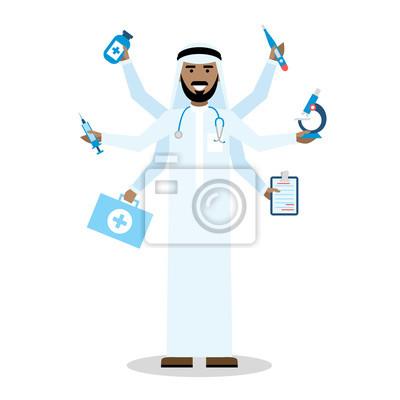Wielozadaniowość arabski lekarz z sześcioma rękami stojących na białym tle.