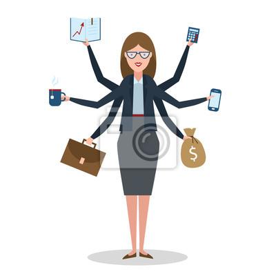 Wielozadaniowość kobieta z sześciu ręce stojących na białym tle.