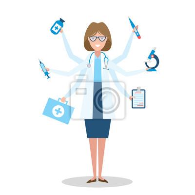Wielozadaniowość lekarka z sześcioma rękami stojących na białym tle.