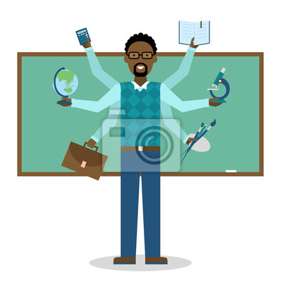 Wielozadaniowość umiejętne Afroamerykanów nauczyciela na białym tle.