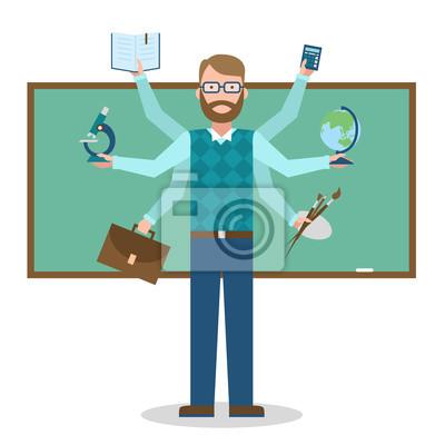 Wielozadaniowość umiejętne nauczyciela na białym tle.