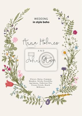 Wieniec dzikich kwiatów. zaproszenia ślubne w stylu boho. Wektor vintage, ilustracji.