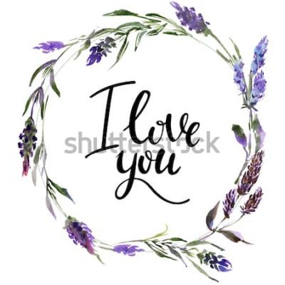 Naklejka Wieniec kwiatów Valentine. Ilustracja kwiat akwarela z napisem kocham cię