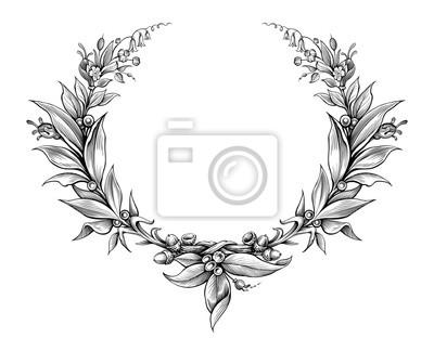 Wieniec laurowy rocznika barokowy ramki granicy monogram kwiatu tarczy herbowej liści przewijania wygrawerowany retro kwiat tatuaż czarno-biały wektor