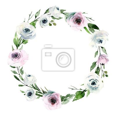 Wieniec, okrągła rama. Kwiaty w akwarela, różowe i białe róże, ręcznie malowany kwiatowy ilustracja. Idealnie nadaje się na ślub, kartkę z życzeniami, plakat, ulotkę i inne nadruki. Pojedynczo na biał