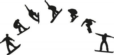 Naklejka Wiersz z sylwetką skoków snowboardowych