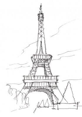Naklejka Wieża Eiffla Doodle szkic dłoni długopis