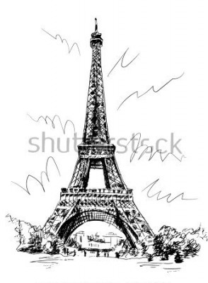 Naklejka Wieża Eiffla używana przez pióro i śledzenie, obraz połączenia, rysunek ręcznie, Paryż, Francja.