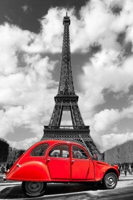 Naklejka Wieża Eiffla z czerwonym starym samochodem w Paryżu, Francja