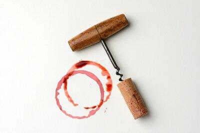 Naklejka Wine Stain i antyczne Korkociąg
