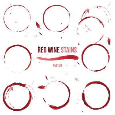 Naklejka Wino czerwone plamy na białym tle