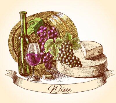 Naklejka Wino i ser biały chleb