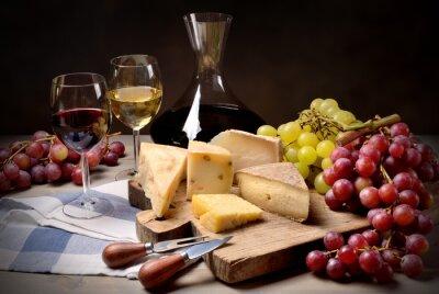 Naklejka Wino, winogrona i ser